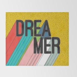 Dreamer Typography Color Poster Dream Imagine Throw Blanket