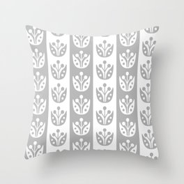 Mid Century Modern Flower Stripes Pattern Gray Throw Pillow