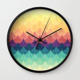 Sailing in Rainbow Waves Wall Clock