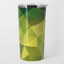 Abstract of triangles polygon in green yellow lime colors Travel Mug