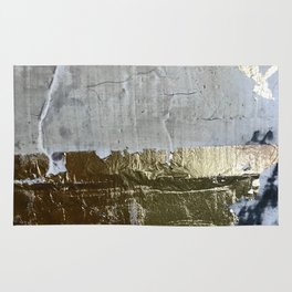 Elegantly Rough: an abstract, minimal piece in gold, pink, black and white by Alyssa Hamilton Art Rug