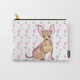 Cute Chihuahua Puppy in Watercolor and Paw Prints Carry-All Pouch