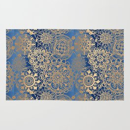 Blue and Gold Mandala Pattern Rug