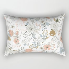 Abstract modern coral white pastel rustic floral Rectangular Pillow