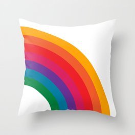 Retro Bright Rainbow - Right Side Throw Pillow