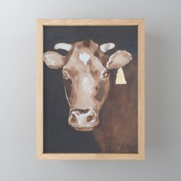 Gold Earring - Cow portrait Framed Mini Art Print