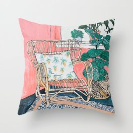 Cane Chair in Pink Interior Throw Pillow
