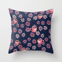 Coffee Lovers floral Throw Pillow
