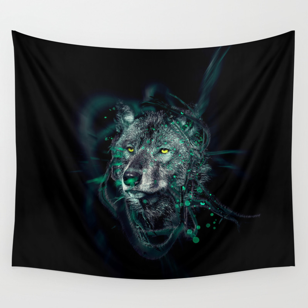 Wolf Face 13 Wall Tapestry by Princeofdarkness TPS8340346