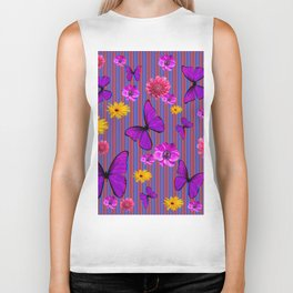 PURPLE BUTTERFLIES ASSORTED FLOWERS Biker Tank