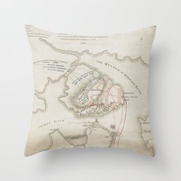 Vintage Battle of Bunker Hill Map (1775) Throw Pillow