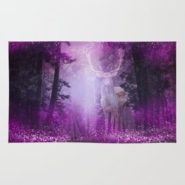 Fairy deer out of the woods mystic pink glitter forrest Rug