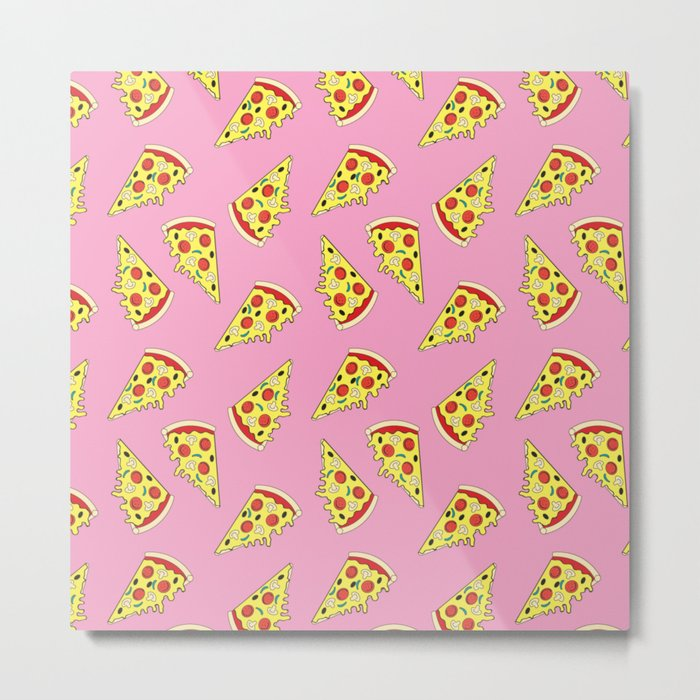Pizza Pattern By Everett Co Metal Print