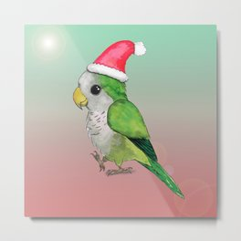 Green Christmas parrot Metal Print