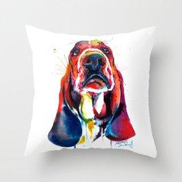 Basset Hound Illustration Throw Pillow