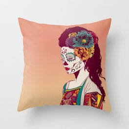 Mexican Skull Lady Throw Pillow