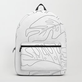 Line Art Monstera Leaves Backpack