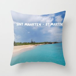 Tropical sandy beach of Sint Maarten - St. Martin Throw Pillow