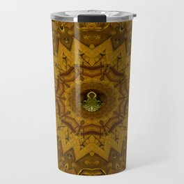 I only say it once its leather in a pattern style. Travel Mug