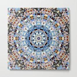 Blue Brown Folklore Texture Mandala Metal Print
