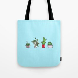 Tiny Cactus & Succulents in colorful pots Tote Bag