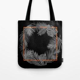 TROPICAL SQUARE COPPER BLACK AND GRAY Tote Bag