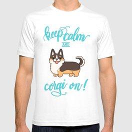 Keep calm and corgi on - tricolor T-shirt