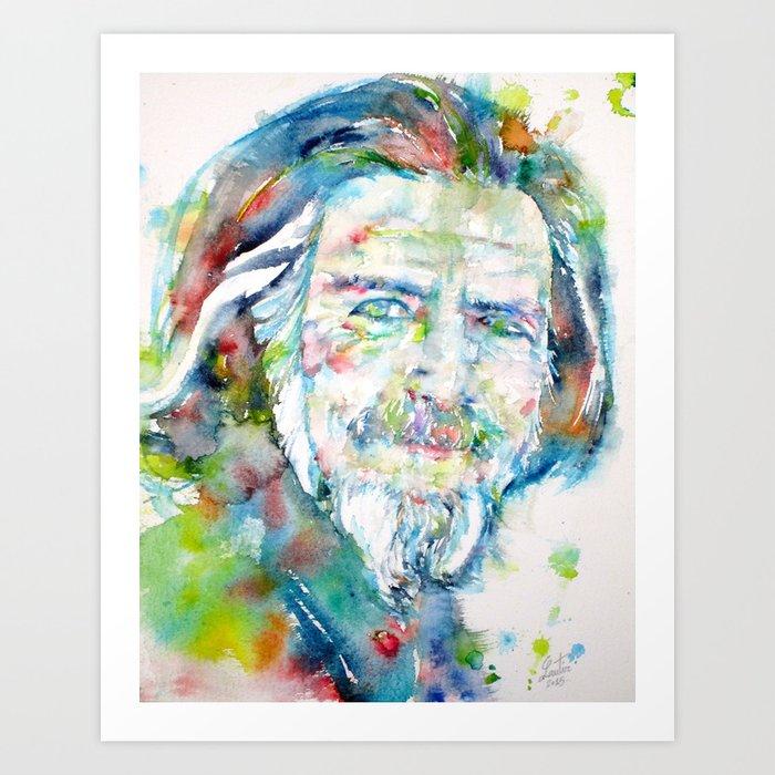 ALAN WATTS - watercolor portrait Art Print