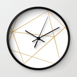 geometric gold and white Wall Clock