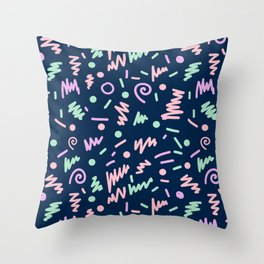 Zola - bright happy fun pattern navy blue pastel shapes charlotte winter Throw Pillow
