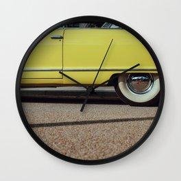 Retro yellow car Wall Clock