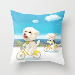 Biking Throw Pillow