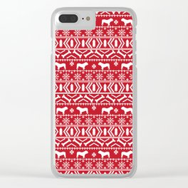 English Bulldog fair isle christmas pet portrait gifts for bulldog owners Clear iPhone Case