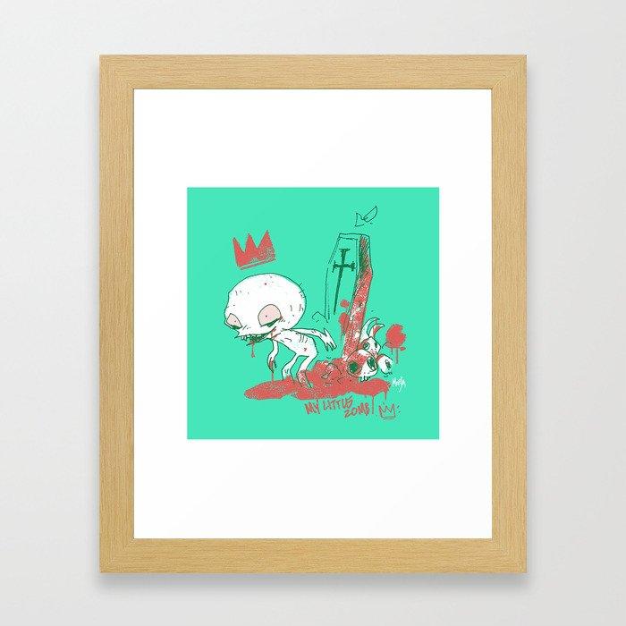 My little zombie - green version Framed Art Print