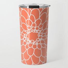 Coral Chrysanth Travel Mug