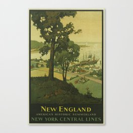 New England, America's Historic Summerland, New York Central Lines - Vintage New York Travel Poster Canvas Print