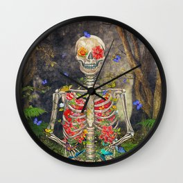 Blooming skeleton in the dark forest  with butterflies Wall Clock