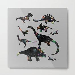 Space Dinos -Grey Metal Print
