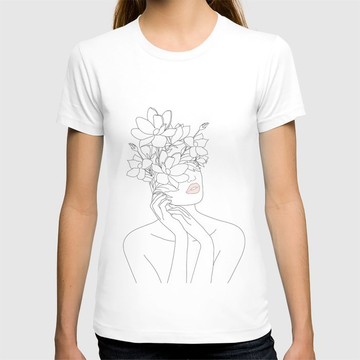 Minimal Line Art Woman with Magnolia T-shirt