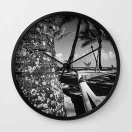 Kuau Beach Palm Trees and Hawaiian Outrigger Canoe Paia Maui Hawaii Wall Clock