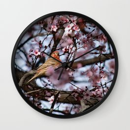 Spring Blossoms - Male House Finch Wall Clock
