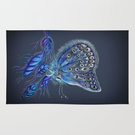 Love Lorn Butterfly-Blue & Navy Palette Rug