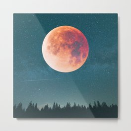 Blood Moon Over the Forest on a Starry Night Metal Print