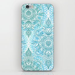 Turquoise Blue, Teal & White Protea Doodle Pattern iPhone Skin