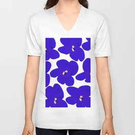 Blue Retro Flowers Unisex V-Neck