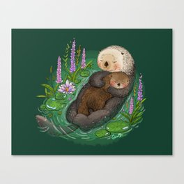 Sea Otter Mother & Baby Canvas Print