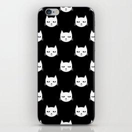 Cat minimal illustration pet cats head drawing digital pattern black and white nursery art iPhone Skin