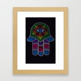 Rainbow Hamsa Mandala Framed Art Print