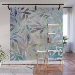 Painted Leaves 2 - color variation Wall Mural