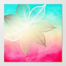 Gold Flower on Turquoise & Pink Watercolor Canvas Print